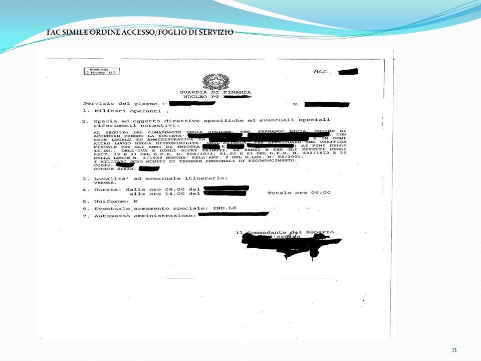 11 FAC SIMILE ORDINE ACCESSO/FOGLIO DI SERVIZIO