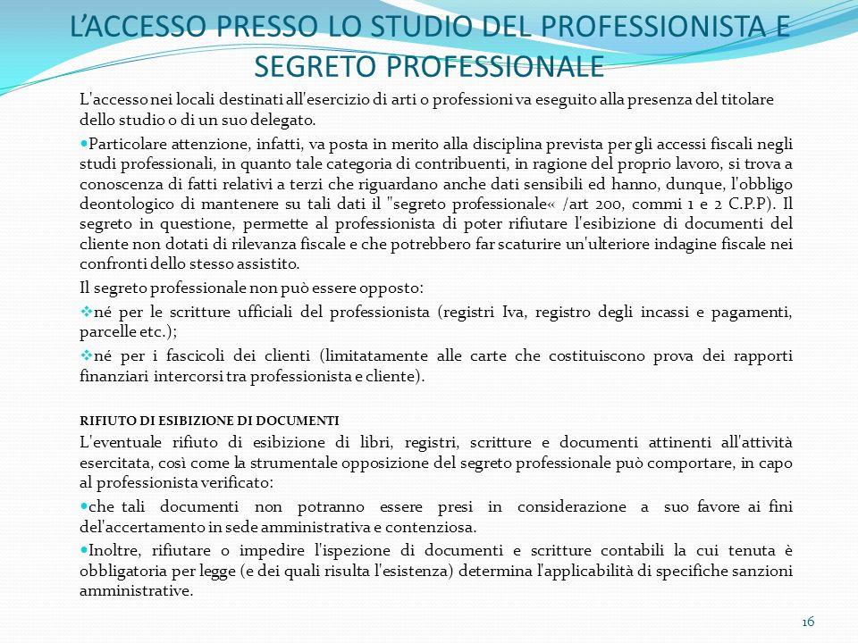 LACCESSO PRESSO LO STUDIO DEL PROFESSIONISTA E SEGRETO PROFESSIONALE L'accesso nei locali destinati all'esercizio di arti o professioni va eseguito al