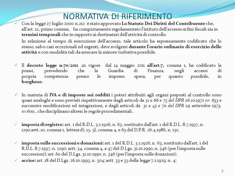 NORMATIVA DI RIFERIMENTO Con la legge 27 luglio 2000 n.212 è stato approvato Lo Statuto Dei Diritti del Contribuente che, all'art. 12, primo comma, ha