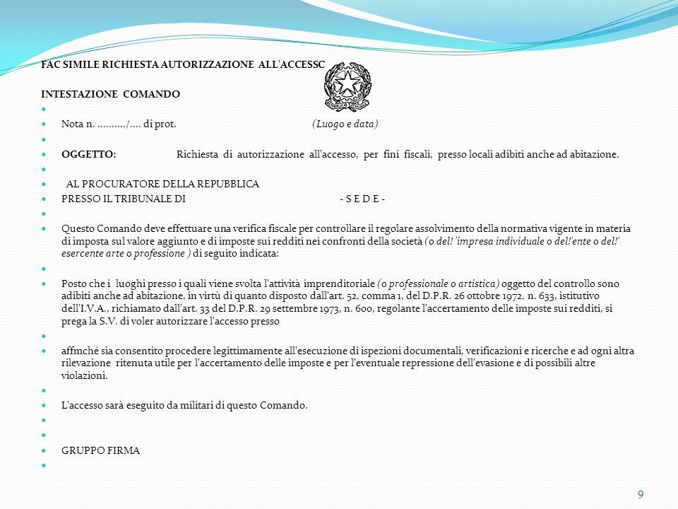 FAC SIMILE RICHIESTA AUTORIZZAZIONE ALL'ACCESSO INTESTAZIONE COMANDO Nota n.........../.... di prot. (Luogo e data) OGGETTO:Richiesta di autorizzazion