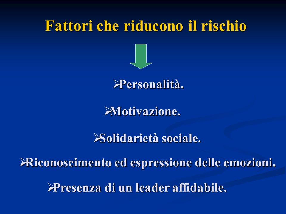 Fattori che riducono il rischio Motivazione. Motivazione. Personalità. Personalità. Solidarietà sociale. Solidarietà sociale. Riconoscimento ed espres