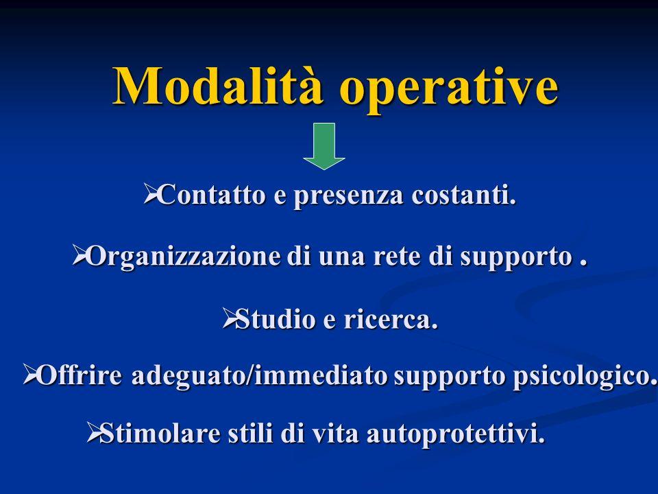 Modalità operative Organizzazione di una rete di supporto. Organizzazione di una rete di supporto. Contatto e presenza costanti. Contatto e presenza c