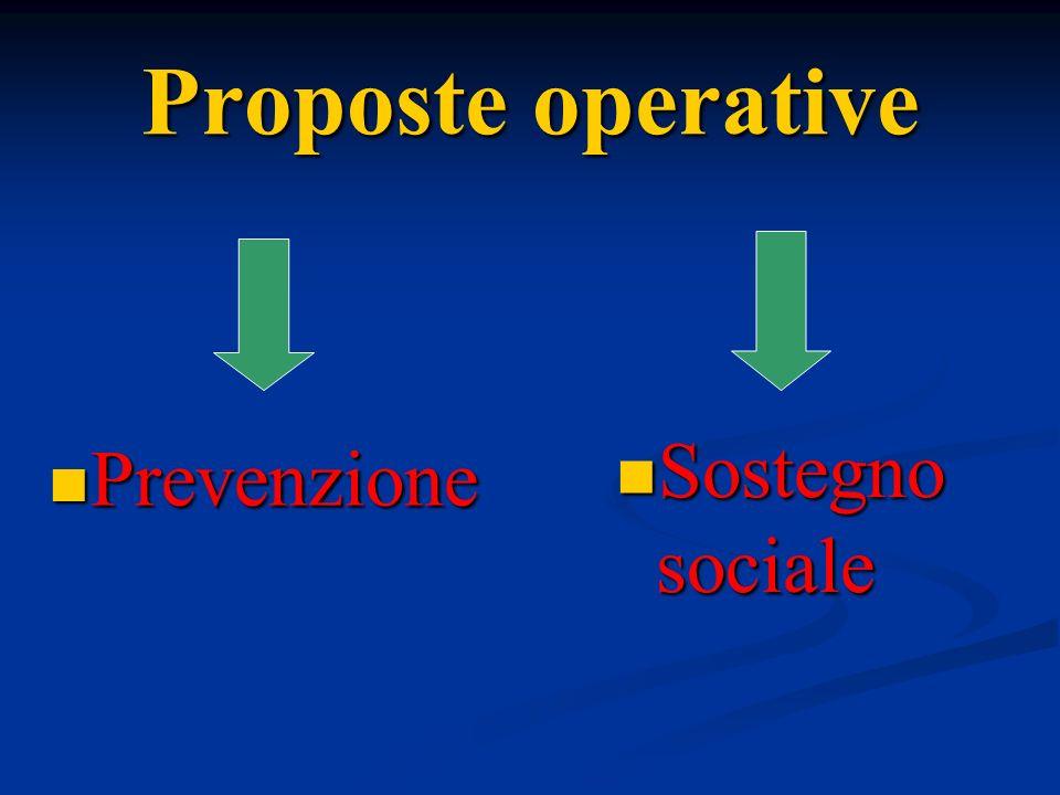 Prevenzione Prevenzione Proposte operative Sostegno sociale Sostegno sociale