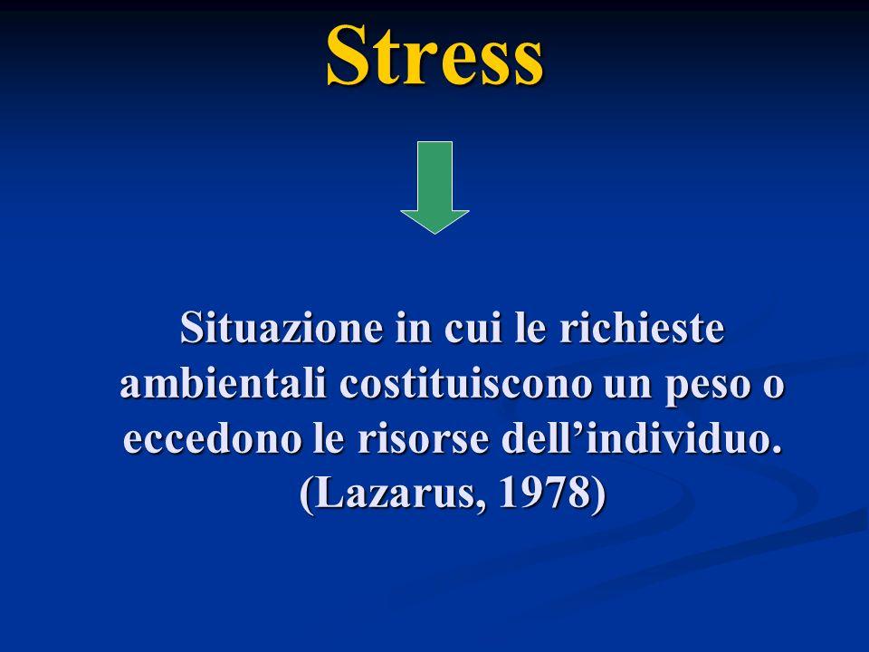 Stress Situazione in cui le richieste ambientali costituiscono un peso o eccedono le risorse dellindividuo. (Lazarus, 1978)