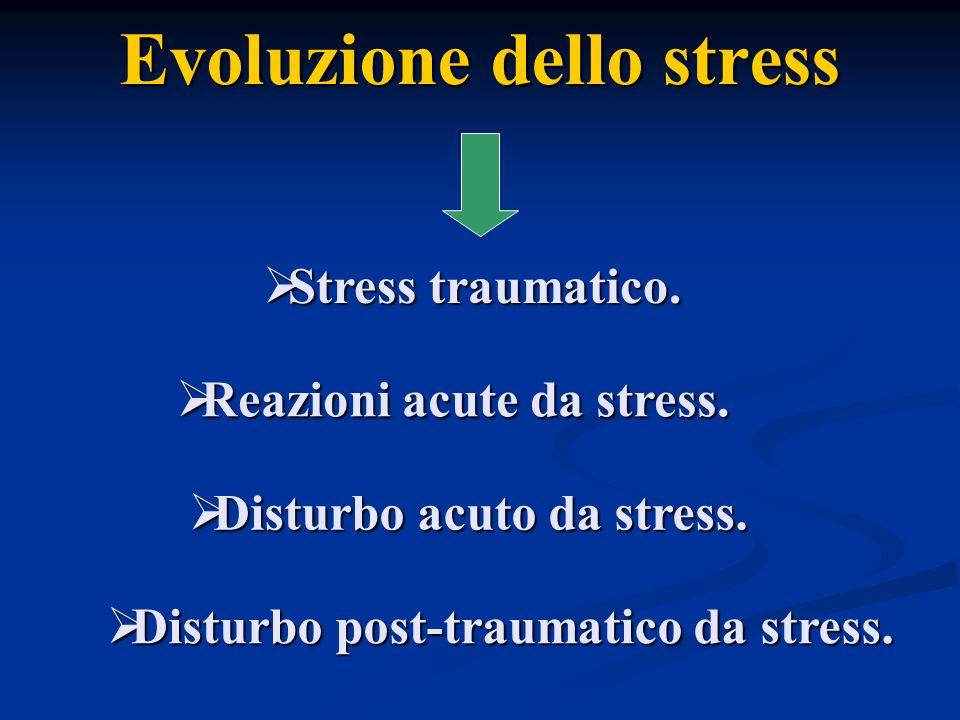 Evoluzione dello stress Reazioni acute da stress. Reazioni acute da stress. Stress traumatico. Stress traumatico. Disturbo acuto da stress. Disturbo a