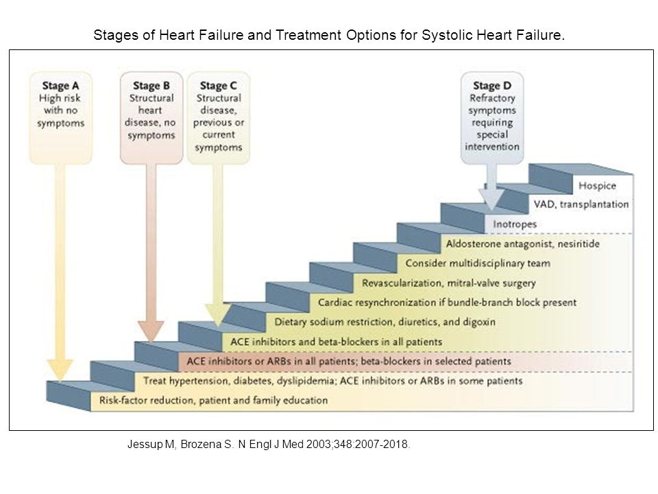Stages of Heart Failure and Treatment Options for Systolic Heart Failure. Jessup M, Brozena S. N Engl J Med 2003;348:2007-2018.