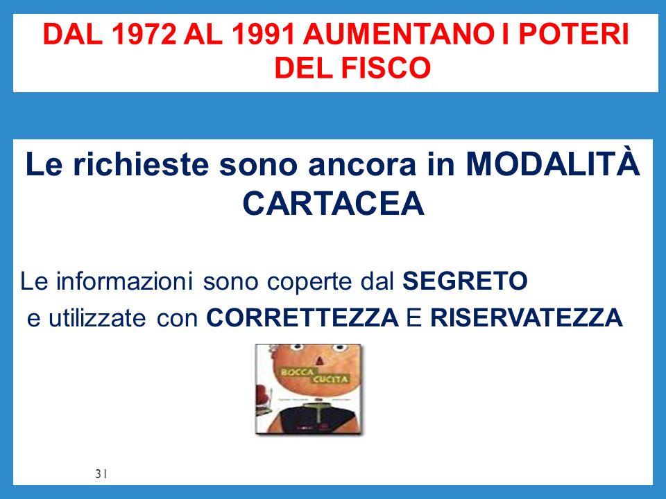 DAL 1972 AL 1991 AUMENTANO I POTERI DEL FISCO Le richieste sono ancora in MODALITÀ CARTACEA Le informazioni sono coperte dal SEGRETO e utilizzate con