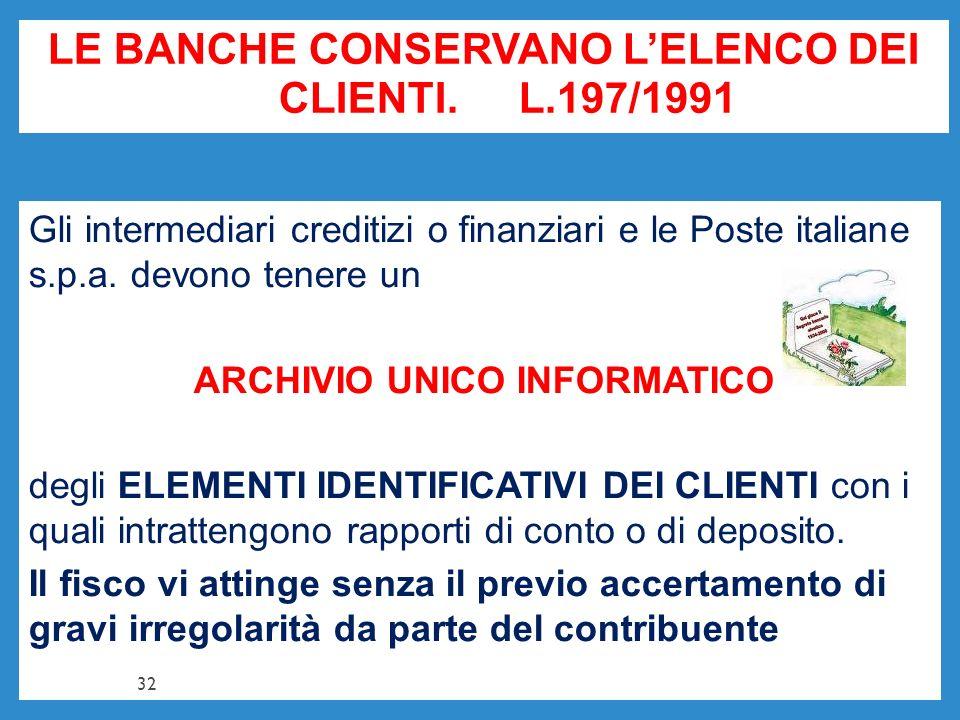 LE BANCHE CONSERVANO LELENCO DEI CLIENTI. L.197/1991 Gli intermediari creditizi o finanziari e le Poste italiane s.p.a. devono tenere un ARCHIVIO UNIC