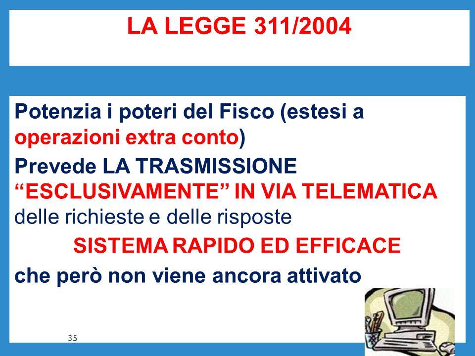LA LEGGE 311/2004 Potenzia i poteri del Fisco (estesi a operazioni extra conto) Prevede LA TRASMISSIONE ESCLUSIVAMENTE IN VIA TELEMATICA delle richies