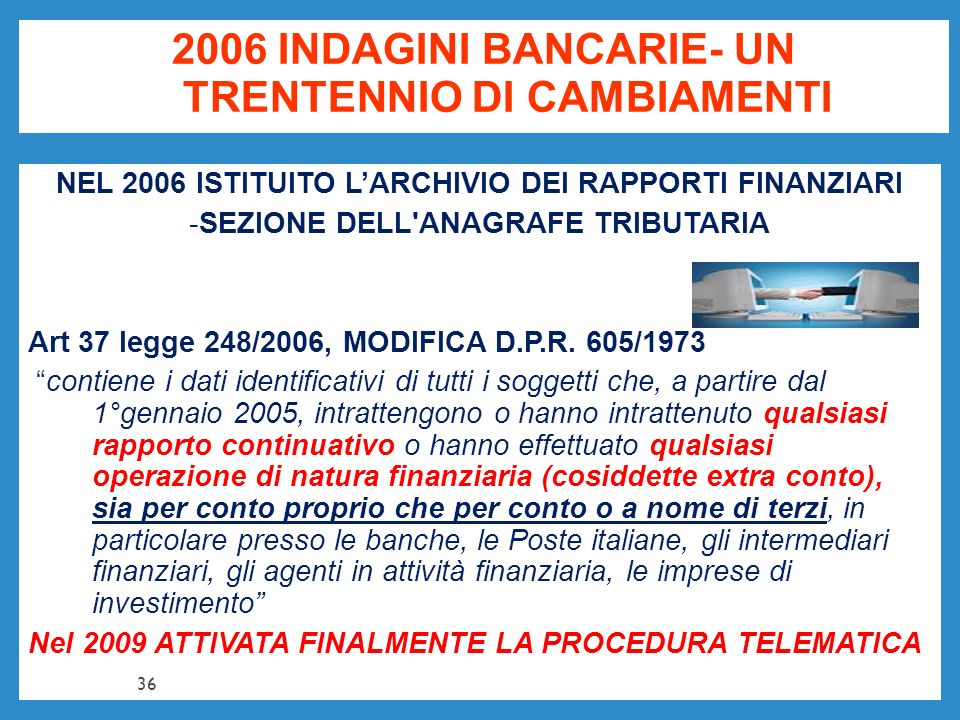 2006 INDAGINI BANCARIE- UN TRENTENNIO DI CAMBIAMENTI NEL 2006 ISTITUITO LARCHIVIO DEI RAPPORTI FINANZIARI -SEZIONE DELL'ANAGRAFE TRIBUTARIA Art 37 leg