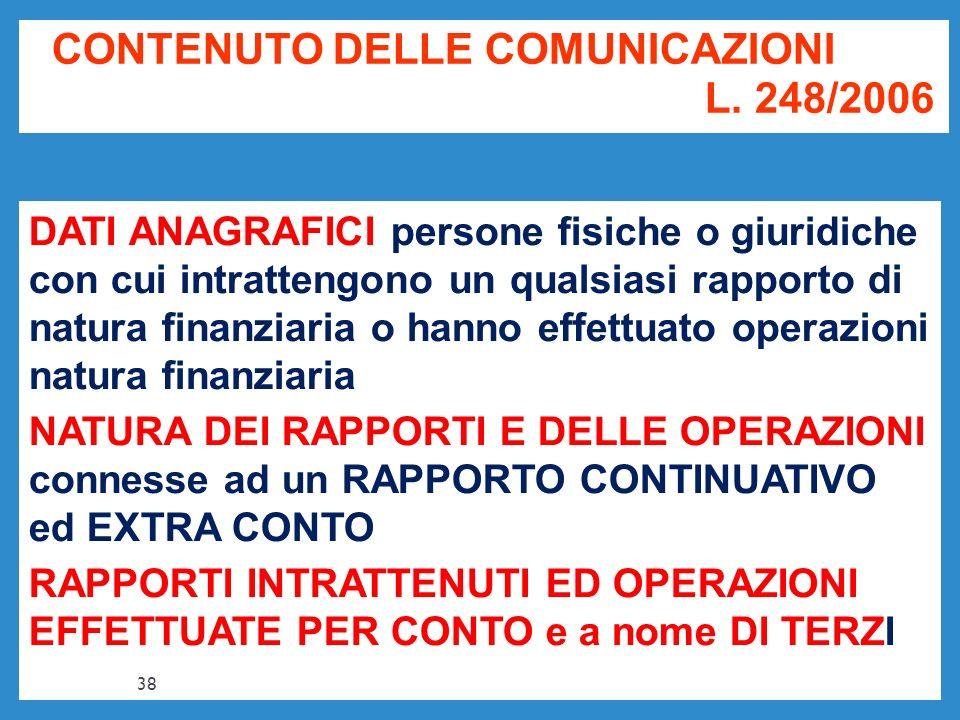 CONTENUTO DELLE COMUNICAZIONI L. 248/2006 DATI ANAGRAFICI persone fisiche o giuridiche con cui intrattengono un qualsiasi rapporto di natura finanziar
