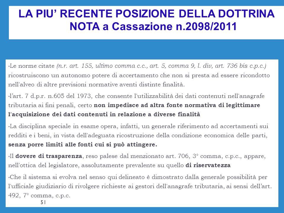 LA PIU RECENTE POSIZIONE DELLA DOTTRINA NOTA a Cassazione n.2098/2011 Le norme citate (n.r. art. 155, ultimo comma c.c., art. 5, comma 9, l. div, art.