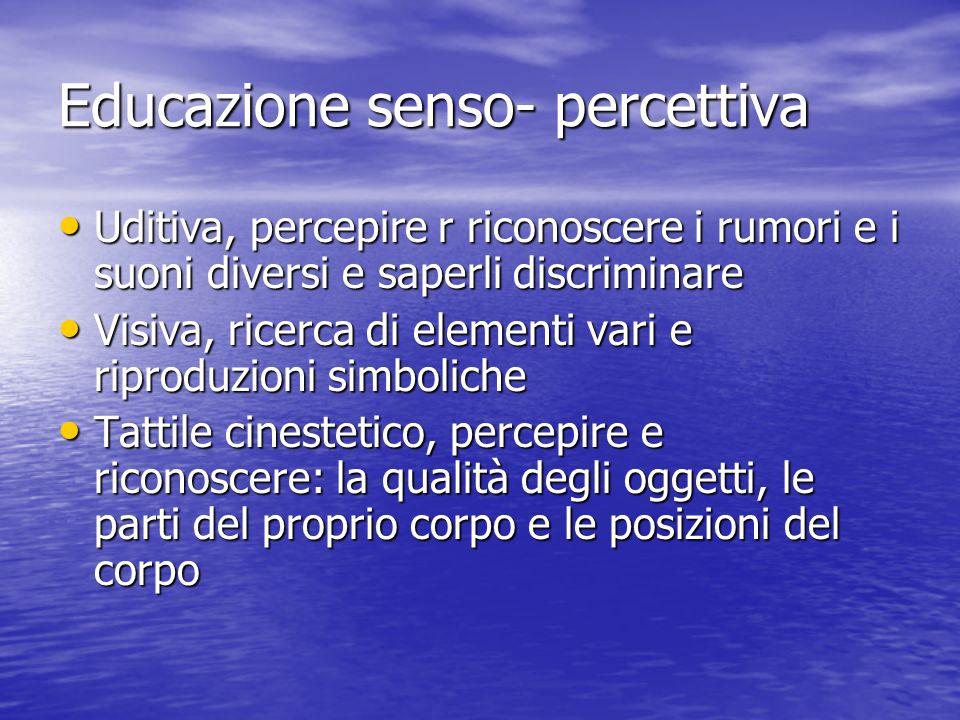 Educazione senso- percettiva Uditiva, percepire r riconoscere i rumori e i suoni diversi e saperli discriminare Uditiva, percepire r riconoscere i rum
