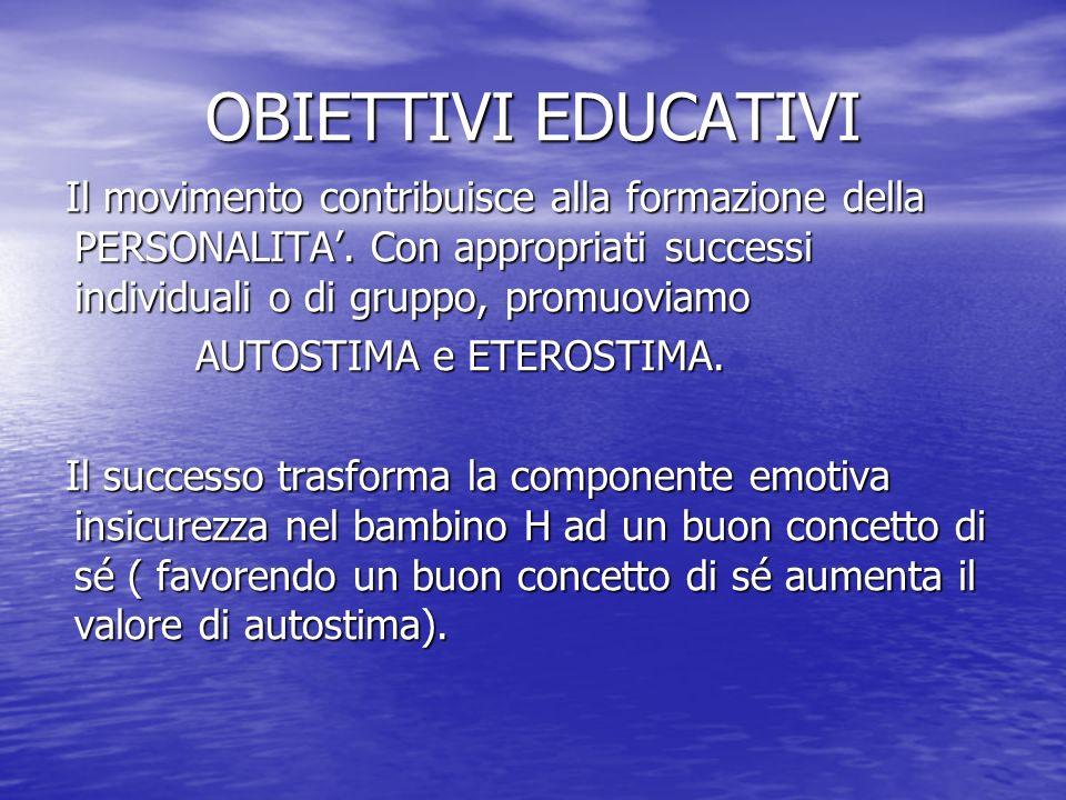 OBIETTIVI EDUCATIVI Il movimento contribuisce alla formazione della PERSONALITA. Con appropriati successi individuali o di gruppo, promuoviamo AUTOSTI