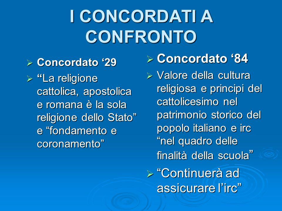 I CONCORDATI A CONFRONTO Concordato 29 Concordato 29 La religione cattolica, apostolica e romana è la sola religione dello Stato e fondamento e corona