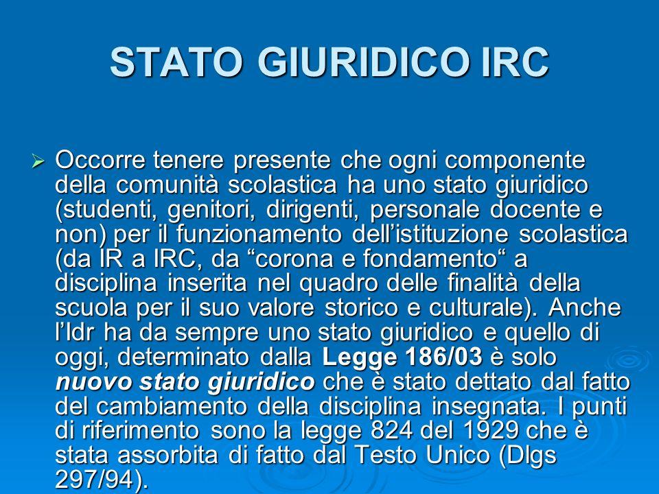 STATO GIURIDICO IRC Occorre tenere presente che ogni componente della comunità scolastica ha uno stato giuridico (studenti, genitori, dirigenti, perso