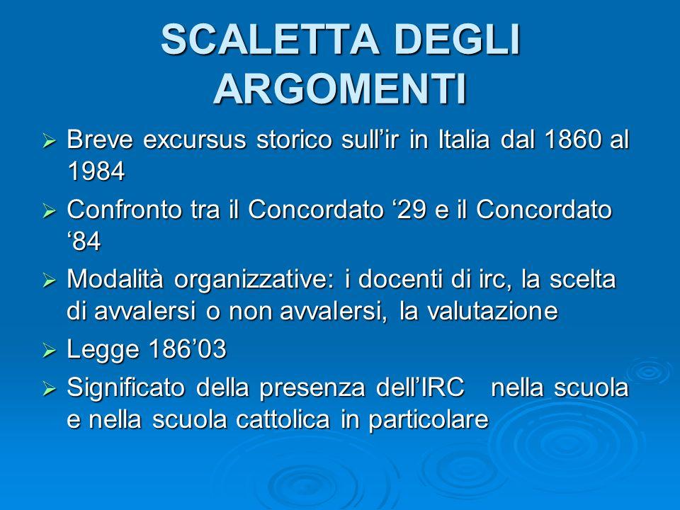 SCALETTA DEGLI ARGOMENTI Breve excursus storico sullir in Italia dal 1860 al 1984 Breve excursus storico sullir in Italia dal 1860 al 1984 Confronto t