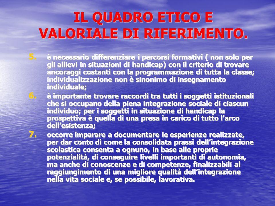 IL QUADRO ETICO E VALORIALE DI RIFERIMENTO.5.