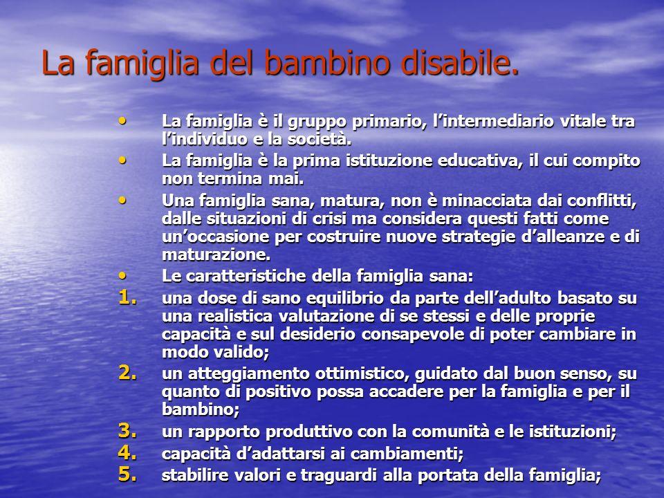 La famiglia del bambino disabile.