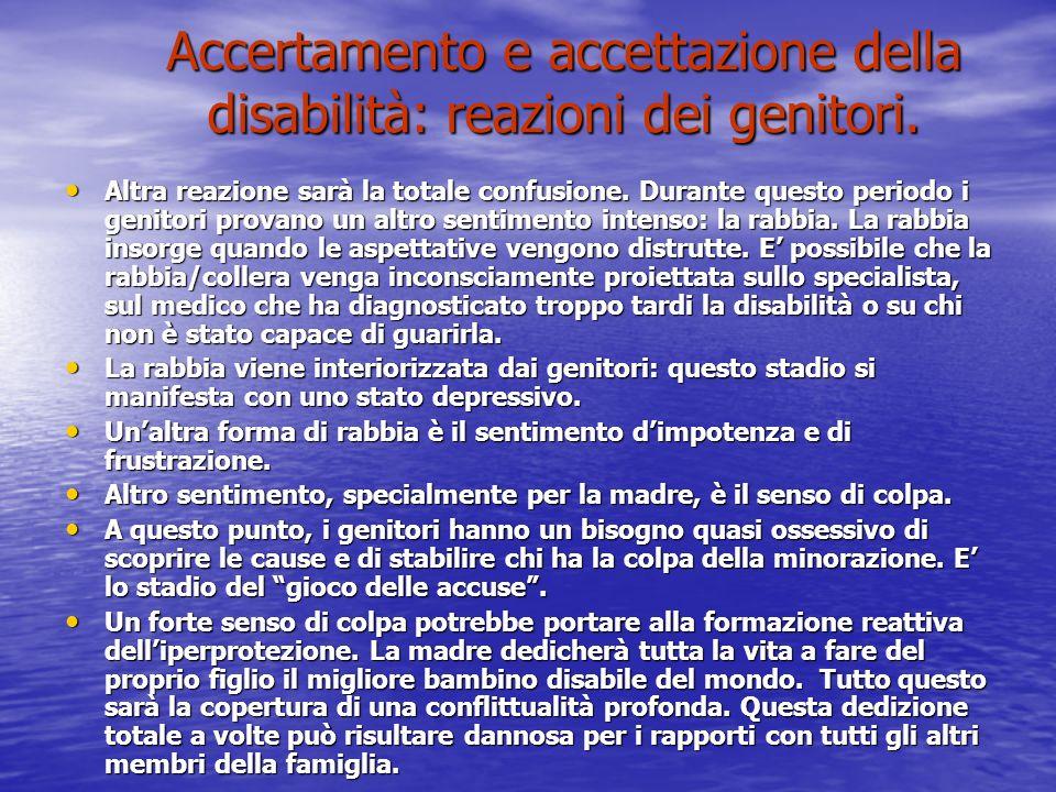 Accertamento e accettazione della disabilità: reazioni dei genitori.