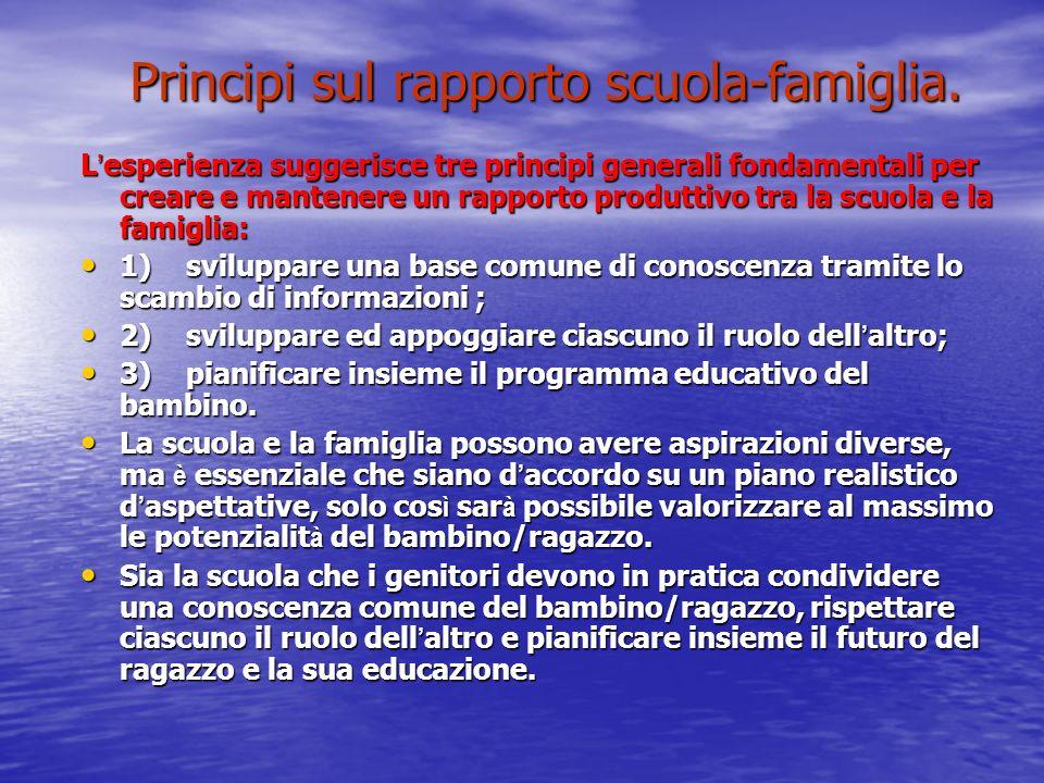 Principi sul rapporto scuola-famiglia.