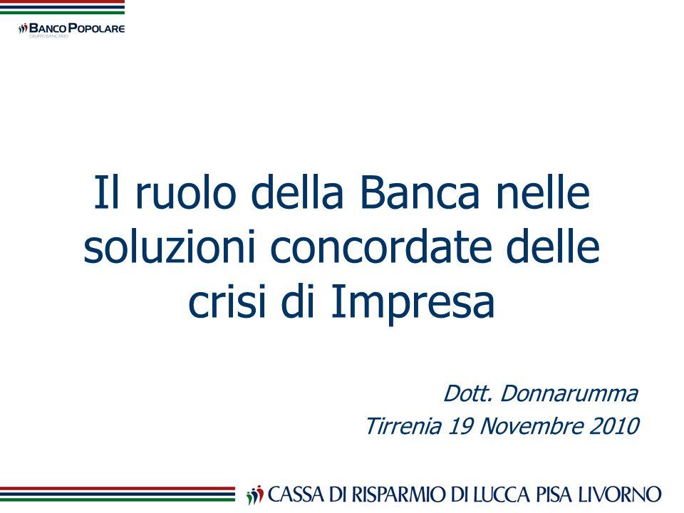 Il ruolo della Banca nelle soluzioni concordate delle crisi di Impresa Dott. Donnarumma Tirrenia 19 Novembre 2010