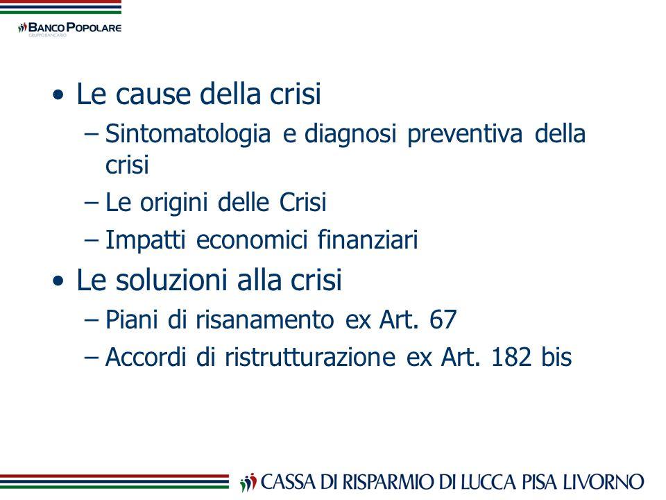 Le cause della crisi –Sintomatologia e diagnosi preventiva della crisi –Le origini delle Crisi –Impatti economici finanziari Le soluzioni alla crisi –