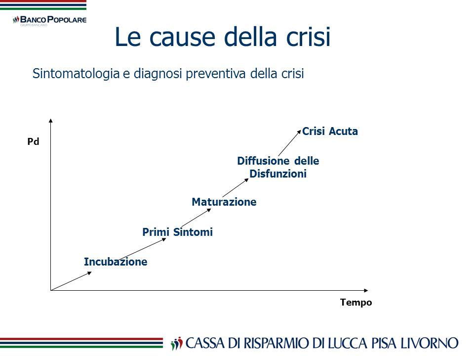 Le cause della crisi Pd Tempo Incubazione Primi Sintomi Maturazione Diffusione delle Disfunzioni Crisi Acuta Sintomatologia e diagnosi preventiva dell