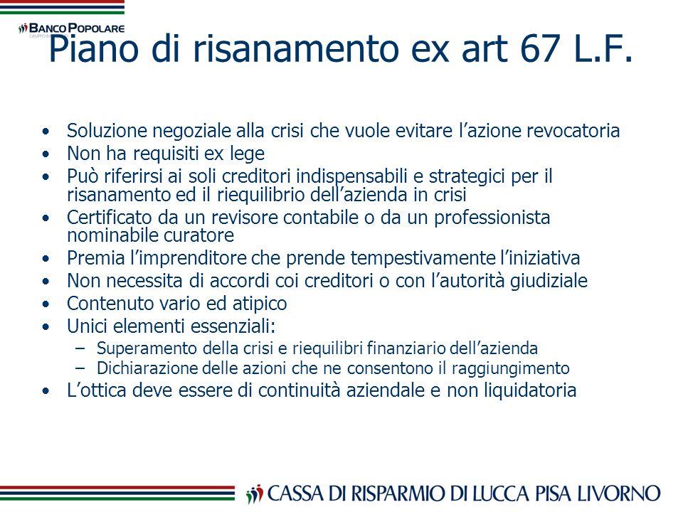 Piano di risanamento ex art 67 L.F. Soluzione negoziale alla crisi che vuole evitare lazione revocatoria Non ha requisiti ex lege Può riferirsi ai sol