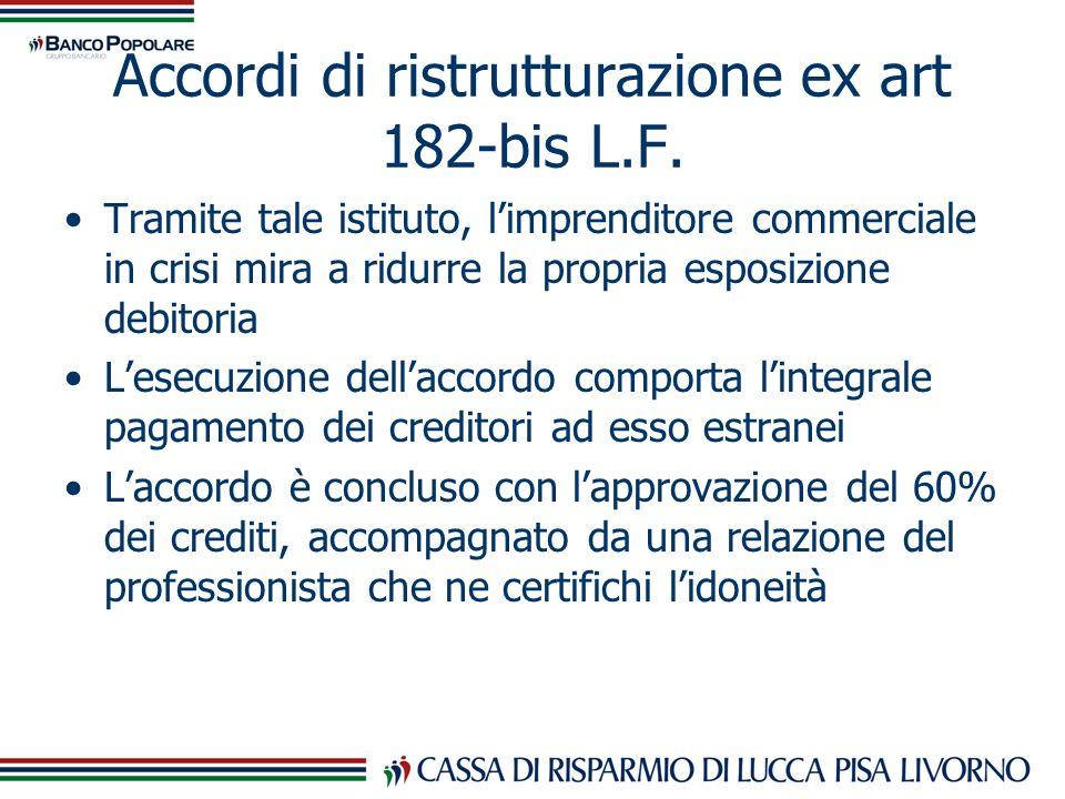 Accordi di ristrutturazione ex art 182-bis L.F. Tramite tale istituto, limprenditore commerciale in crisi mira a ridurre la propria esposizione debito