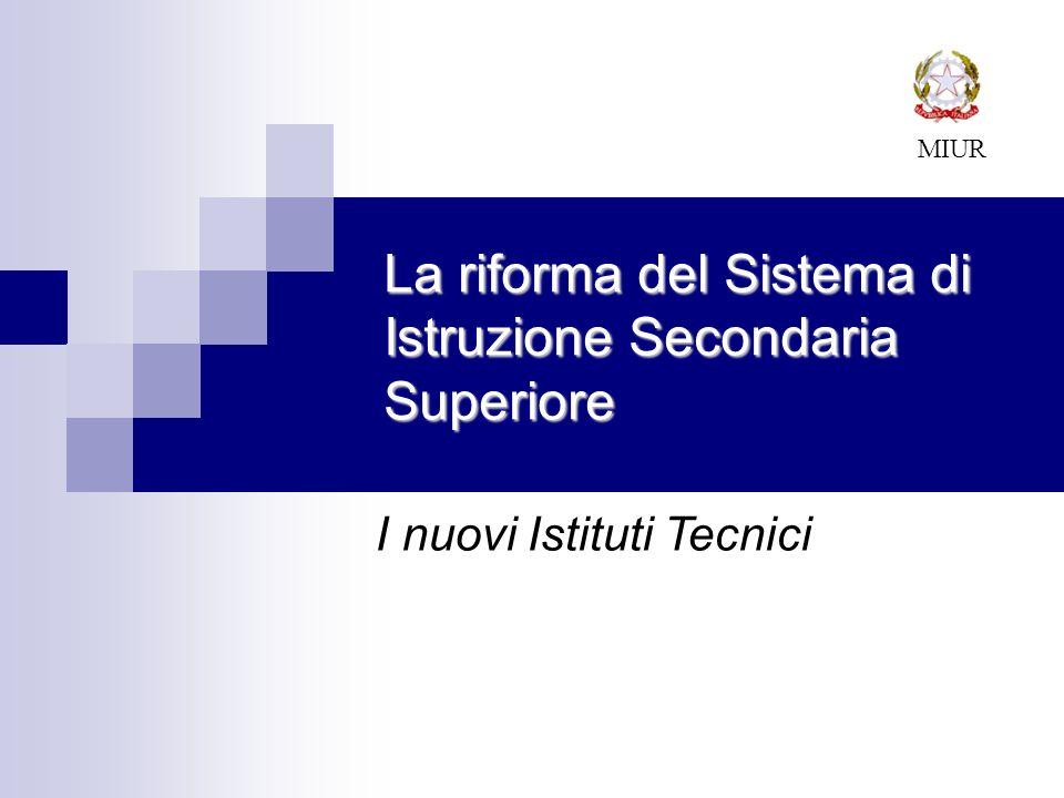 La riforma del Sistema di Istruzione Secondaria Superiore MIUR I nuovi Istituti Tecnici