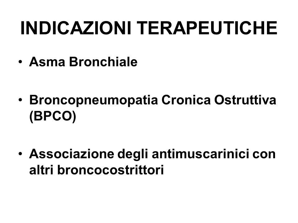 INDICAZIONI TERAPEUTICHE Asma Bronchiale Broncopneumopatia Cronica Ostruttiva (BPCO) Associazione degli antimuscarinici con altri broncocostrittori