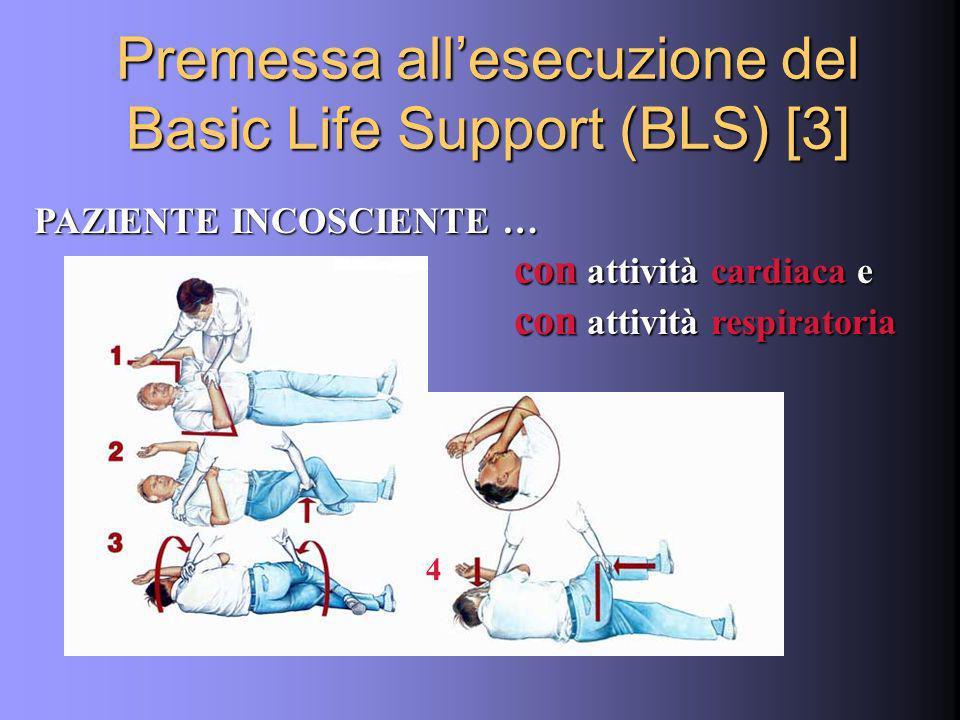PAZIENTE INCOSCIENTE … con attività cardiaca e con attività cardiaca e con attività respiratoria Premessa allesecuzione del Basic Life Support (BLS) [3] 4