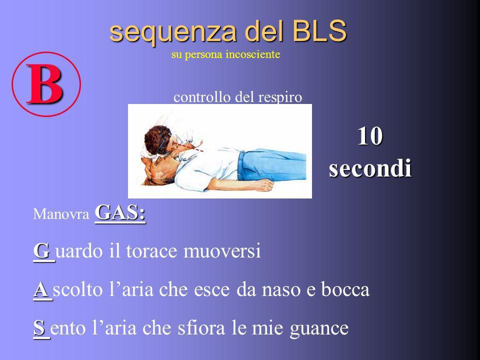 sequenza del BLS su persona incosciente controllo del respiro B GAS: Manovra GAS: G G uardo il torace muoversi A A scolto laria che esce da naso e bocca S S ento laria che sfiora le mie guance 10 secondi