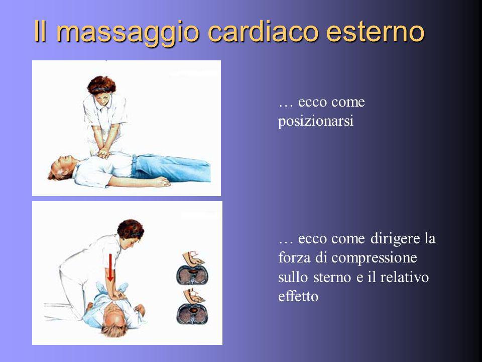 Il massaggio cardiaco esterno … ecco come posizionarsi … ecco come dirigere la forza di compressione sullo sterno e il relativo effetto