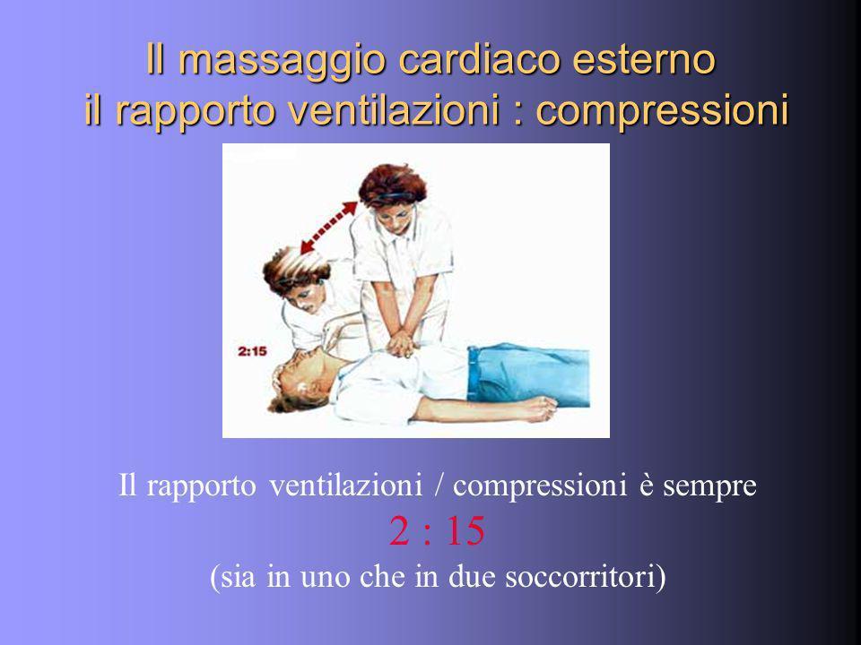 Il massaggio cardiaco esterno il rapporto ventilazioni : compressioni Il rapporto ventilazioni / compressioni è sempre 2 : 15 (sia in uno che in due soccorritori)