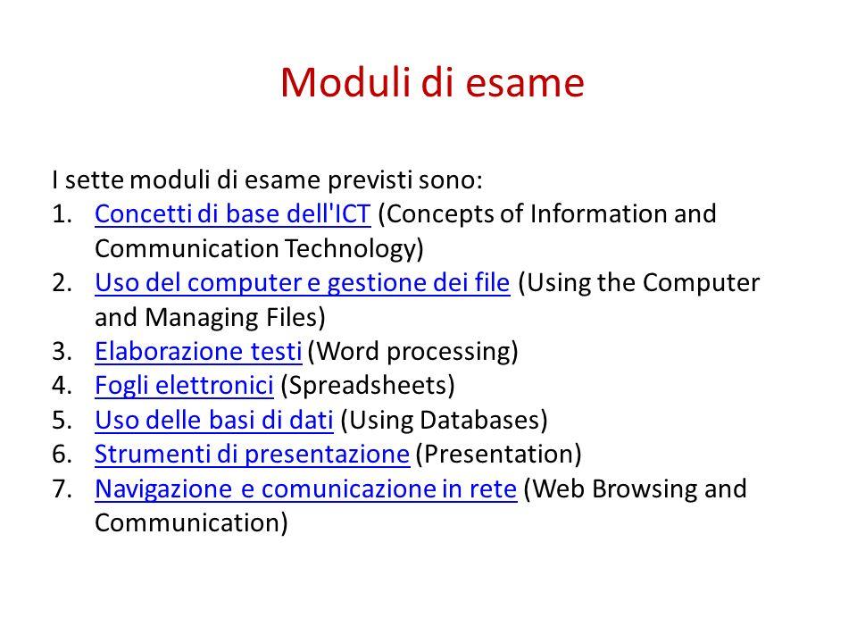 Moduli di esame I sette moduli di esame previsti sono: 1.Concetti di base dell'ICT (Concepts of Information and Communication Technology)Concetti di b