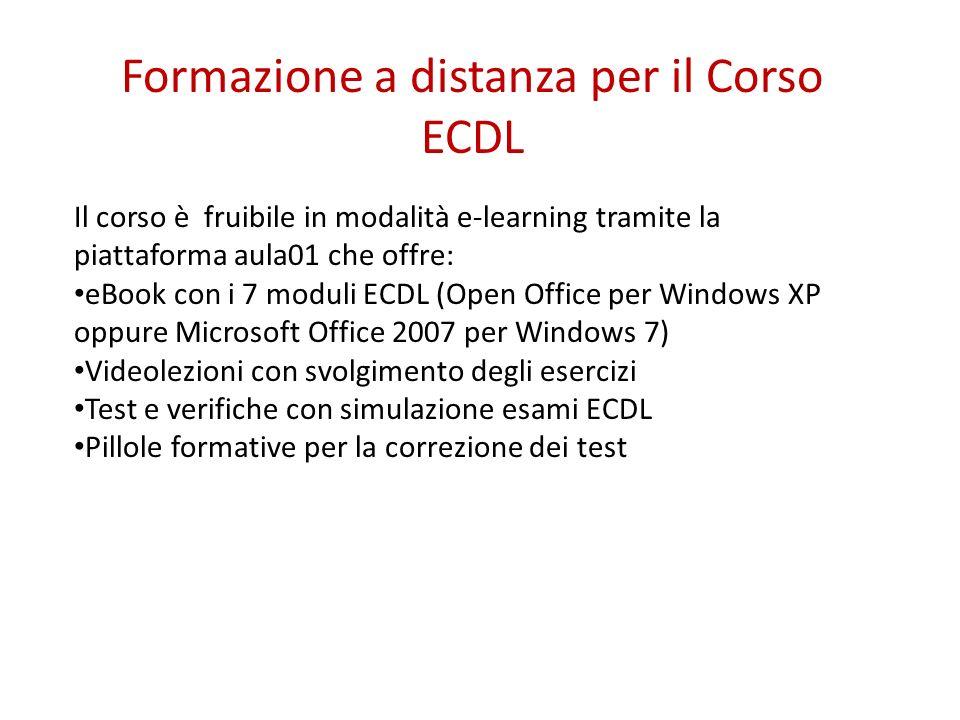 Il corso è fruibile in modalità e-learning tramite la piattaforma aula01 che offre: eBook con i 7 moduli ECDL (Open Office per Windows XP oppure Micro
