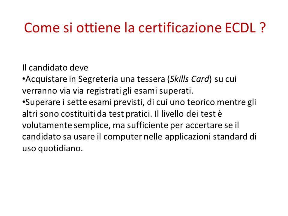 Il candidato deve Acquistare in Segreteria una tessera (Skills Card) su cui verranno via via registrati gli esami superati. Superare i sette esami pre