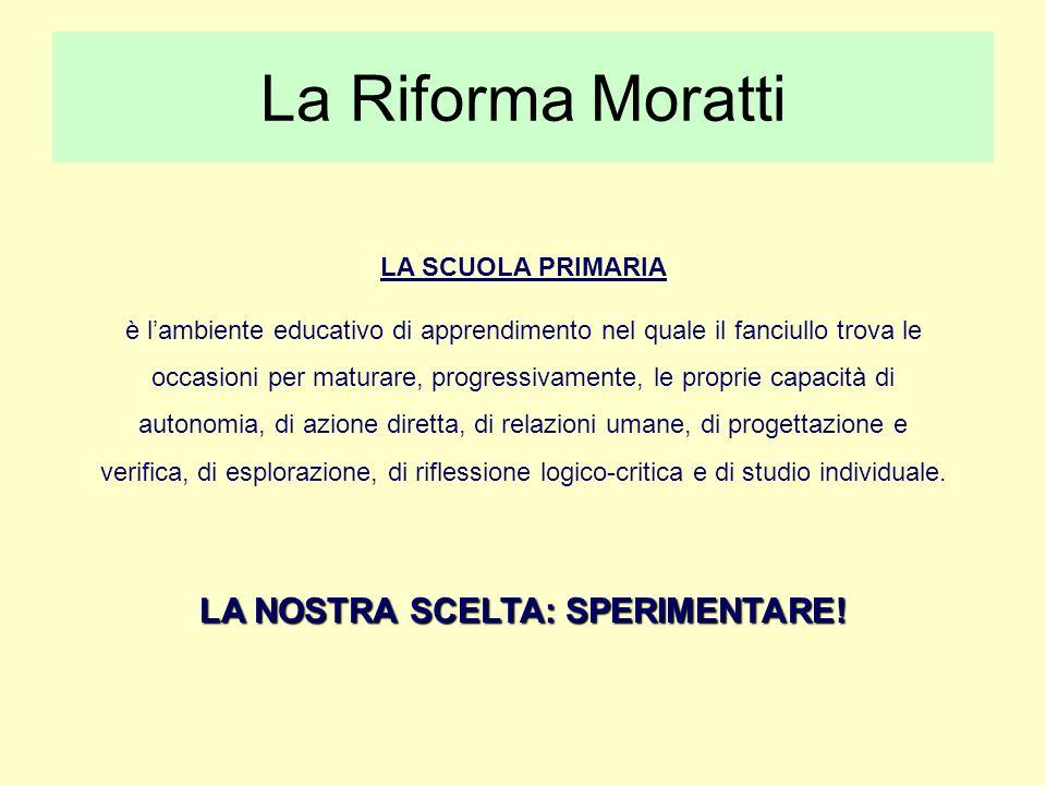 La Riforma Moratti LA SCUOLA PRIMARIA è lambiente educativo di apprendimento nel quale il fanciullo trova le occasioni per maturare, progressivamente, le proprie capacità di autonomia, di azione diretta, di relazioni umane, di progettazione e verifica, di esplorazione, di riflessione logico-critica e di studio individuale.