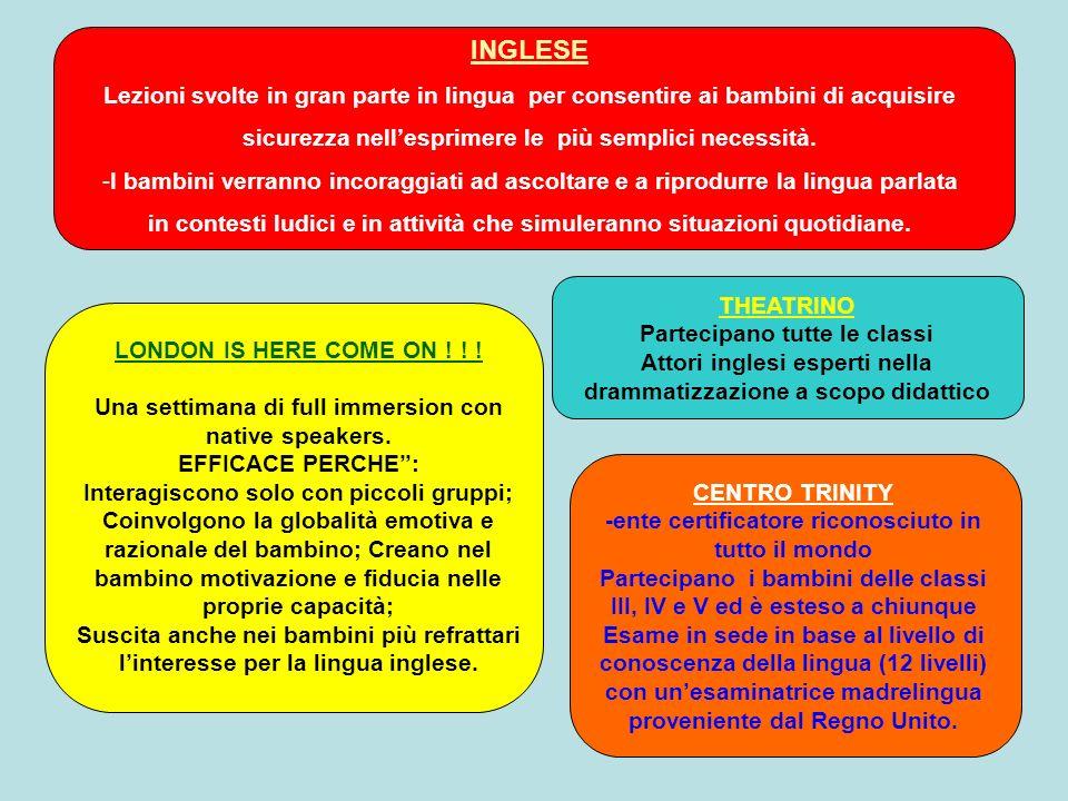 INGLESE Lezioni svolte in gran parte in lingua per consentire ai bambini di acquisire sicurezza nellesprimere le più semplici necessità.
