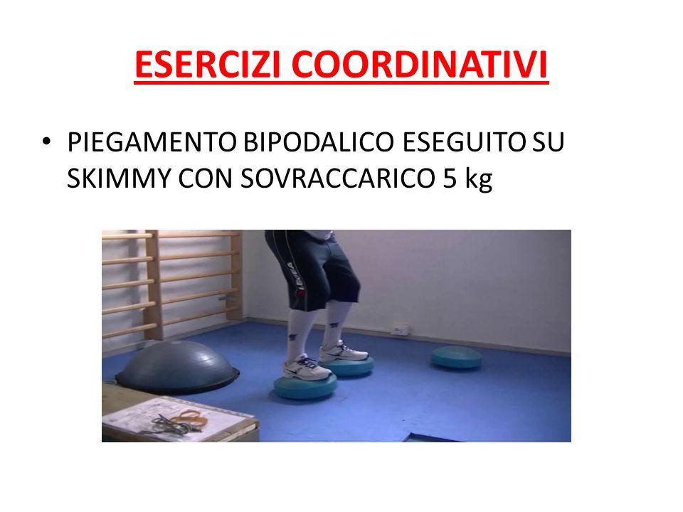 ESERCIZI COORDINATIVI PIEGAMENTO BIPODALICO ESEGUITO SU SKIMMY CON SOVRACCARICO 5 kg