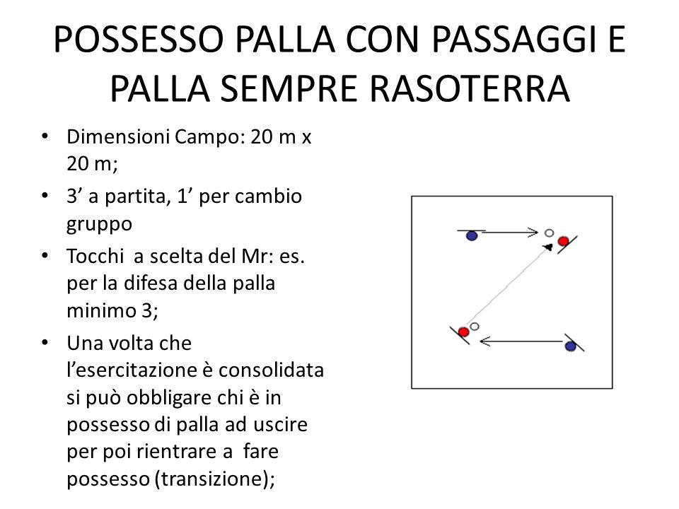 POSSESSO PALLA CON PASSAGGI E PALLA SEMPRE RASOTERRA Dimensioni Campo: 20 m x 20 m; 3 a partita, 1 per cambio gruppo Tocchi a scelta del Mr: es. per l