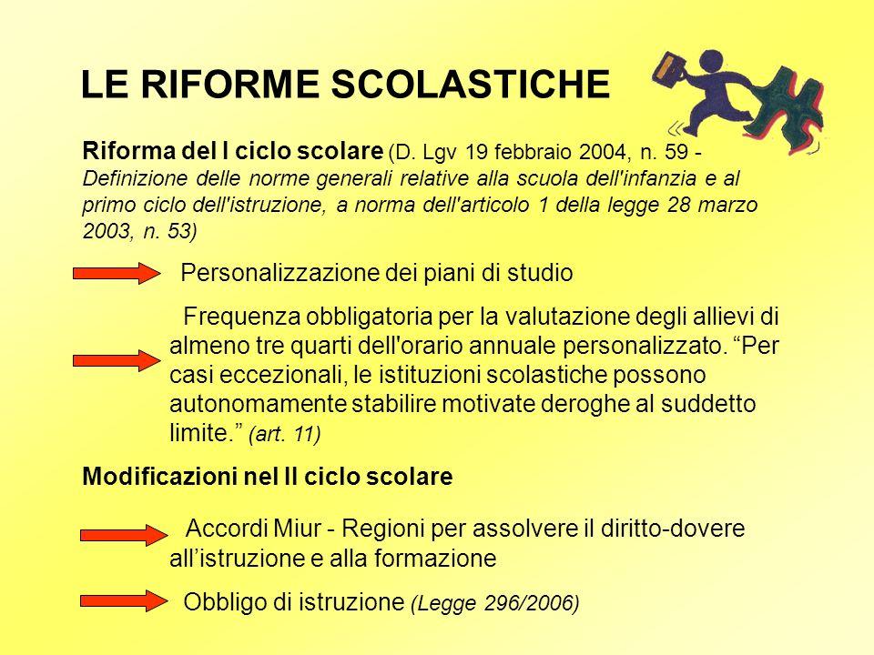 LE RIFORME SCOLASTICHE Riforma del I ciclo scolare (D. Lgv 19 febbraio 2004, n. 59 - Definizione delle norme generali relative alla scuola dell'infanz