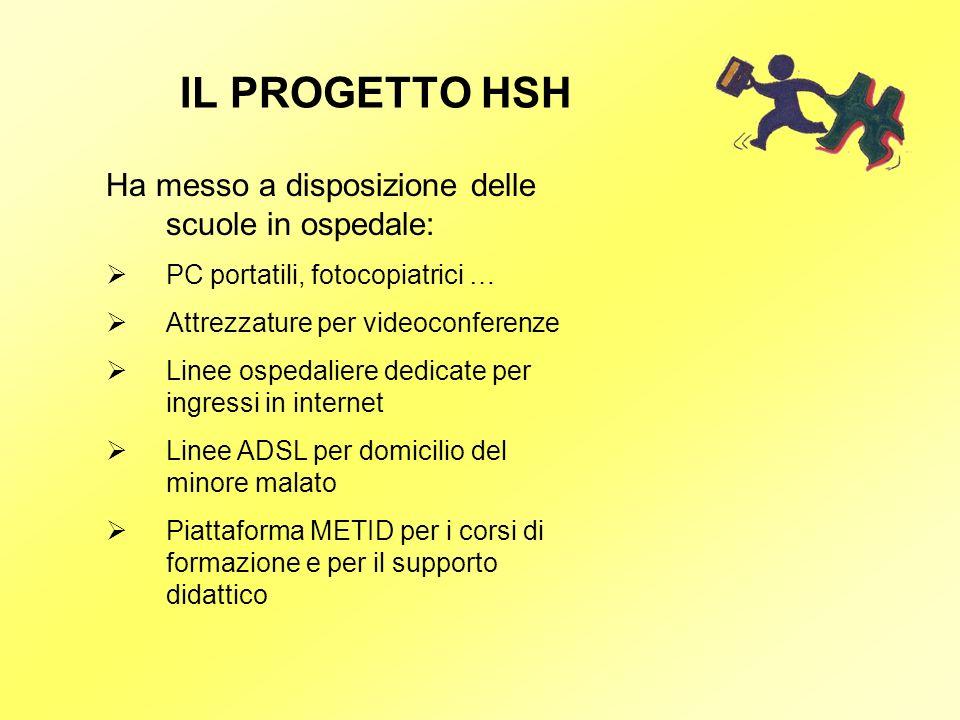 IL PROGETTO HSH Ha messo a disposizione delle scuole in ospedale: PC portatili, fotocopiatrici … Attrezzature per videoconferenze Linee ospedaliere de
