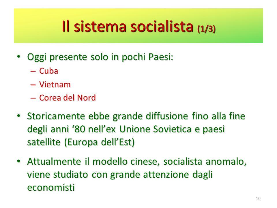 Il sistema socialista (1/3) Oggi presente solo in pochi Paesi: Oggi presente solo in pochi Paesi: – Cuba – Vietnam – Corea del Nord Storicamente ebbe