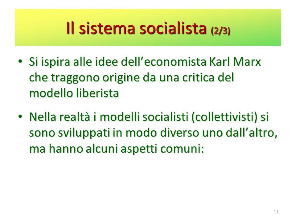 Il sistema socialista (2/3) Si ispira alle idee delleconomista Karl Marx che traggono origine da una critica del modello liberista Si ispira alle idee