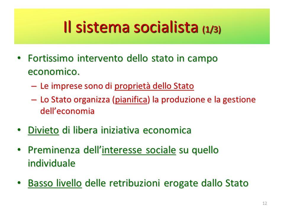 Il sistema socialista (1/3) Fortissimo intervento dello stato in campo economico. Fortissimo intervento dello stato in campo economico. – Le imprese s
