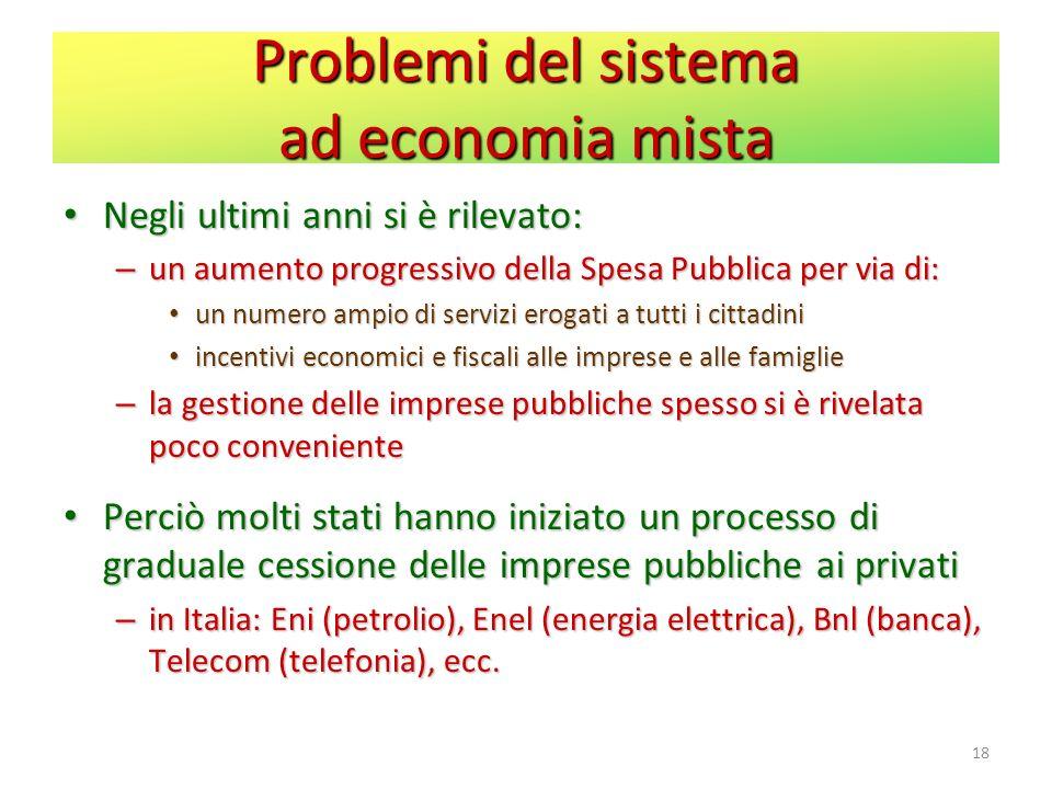 Problemi del sistema ad economia mista Negli ultimi anni si è rilevato: Negli ultimi anni si è rilevato: – un aumento progressivo della Spesa Pubblica