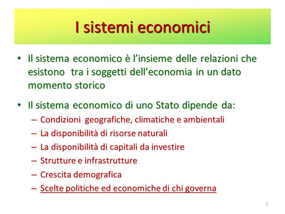 2 I sistemi economici Il sistema economico è linsieme delle relazioni che esistono tra i soggetti delleconomia in un dato momento storico Il sistema e